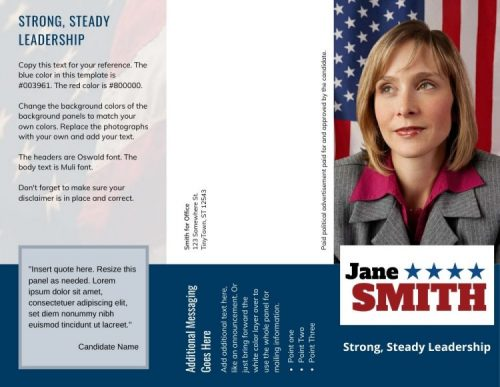 Political brochure with campaign slogan
