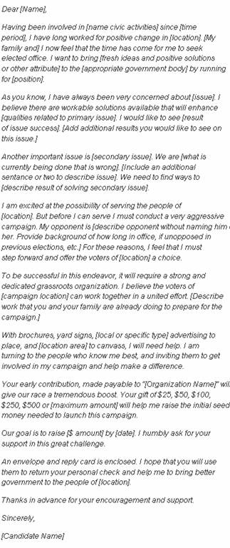 Sample Campaign Fundraising Letter