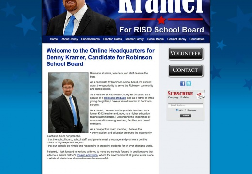Denny Kramer, Candidate for Robinson School Board