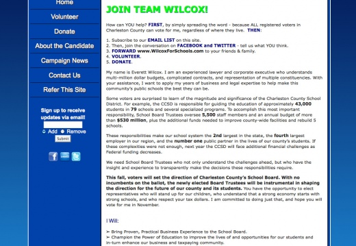 Everett Wilcox for Charleston County School Board Campaign Website