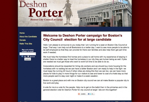 Deshon Porter campaign for Boston City Council