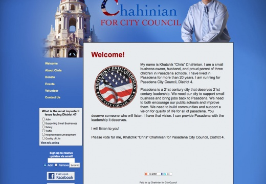 Khatchik Chris Chahinian for Pasadena City Council Campaign Website