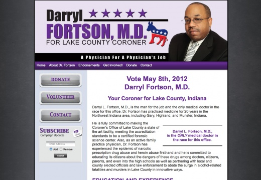 Darryl Fortson, MD for Coroner Lake County, Indiana