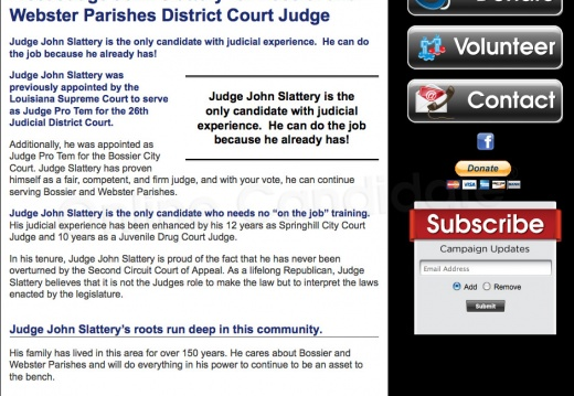 Judge John Slattery for Bossier and Webster Parishes District Court