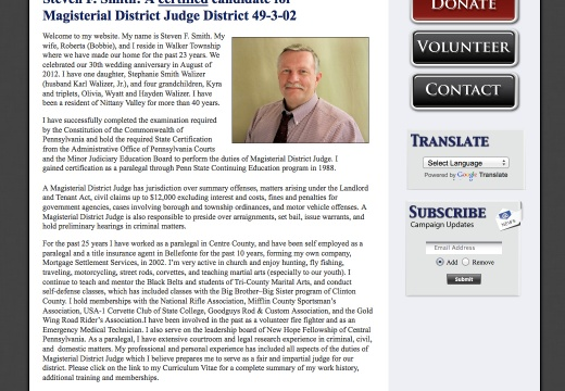 Steven F Smith - A certified candidate for Magisterial District