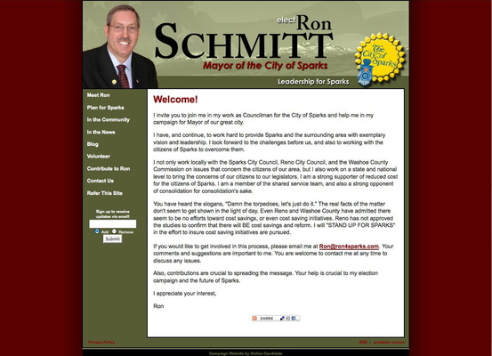 Ron Scmitt for Mayor of the City of Sparks