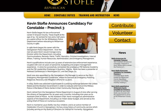 Kevin Stofle Announces Candidacy For Constable Precinct 3