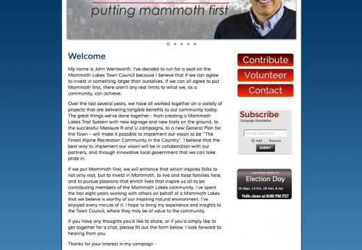 John Wentworth for Mammoth Lakes Town Council