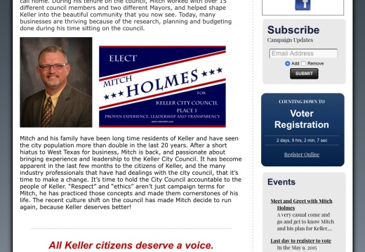 Mitch Holmes for Keller City Council, Place 1