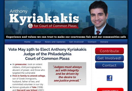 Elect Anthony Kyriakakis Judge of the Philadelphia Court of Common Pleas
