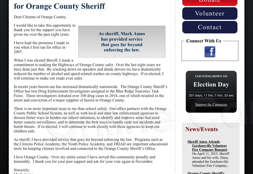 Re-elect Mark Amos for Orange County Sheriff