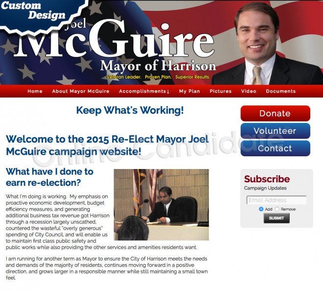 2015 Re-Elect Mayor Joel McGuire campaign website.jpg