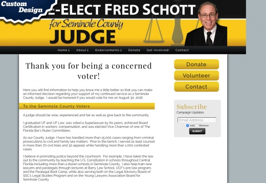 Re-Elect Judge Fred Schott - Candidate for Seminole County Judge