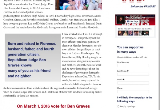 Ben Graves Candidate for Circuit Judge, Place 1 for Lauderdale County