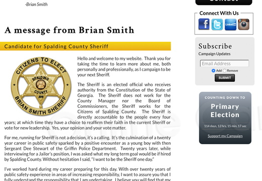 from Brian Smith for Spalding County Sheriff