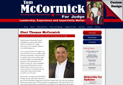 "Thomas McCormick Candidate for Louisiana 18th Judicial District Court Division ""B"" Judge"