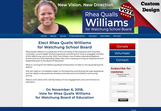 Rhea Qualls Williams for Watchung School Board
