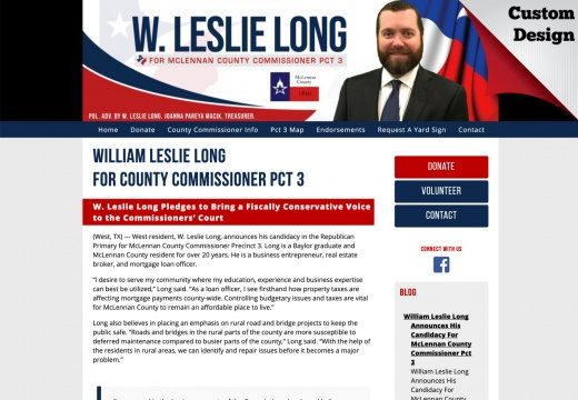 William Leslie Long for County Commissioner Pct 3
