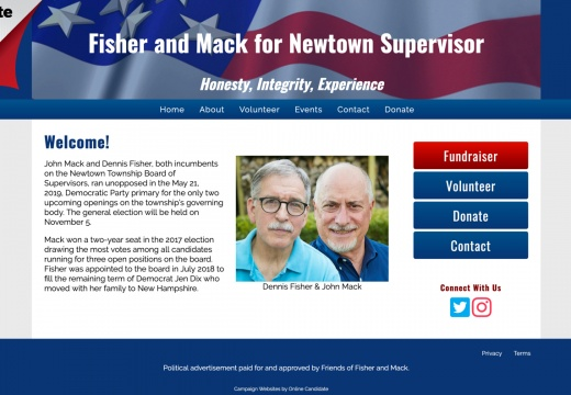 Fisher and Mack for Newtown Supervisor