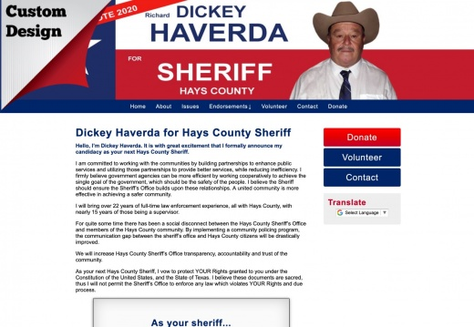 Dickey Haverda for Hays County Sheriff