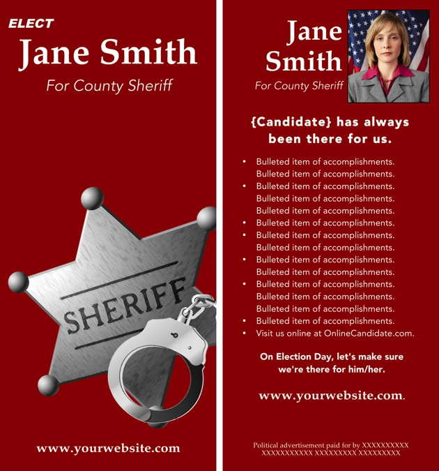 sheriff candidate print templates  u2013 red theme