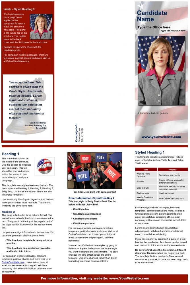 Political Print Templates – Red Liberty Bell Theme | Online Candidate