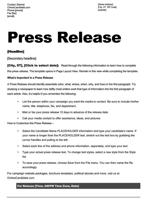 Sheriff candidate print templates blue theme online for How to write a press release for an event template