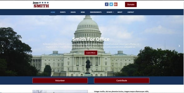 Political WordPress Theme Example